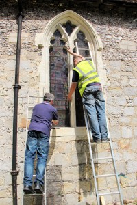 Aiano engineers matching the new window guards at St. Nicholas church