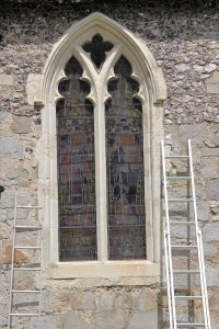 The finished Aiano window guards at St.Nicholas are hard to spot