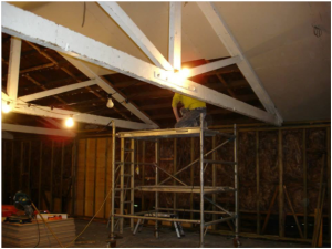 Interior of Laurencekirk Scout Hut during the renovations
