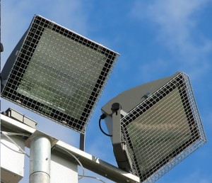 Close up of the installed pole mounted floodlight guards
