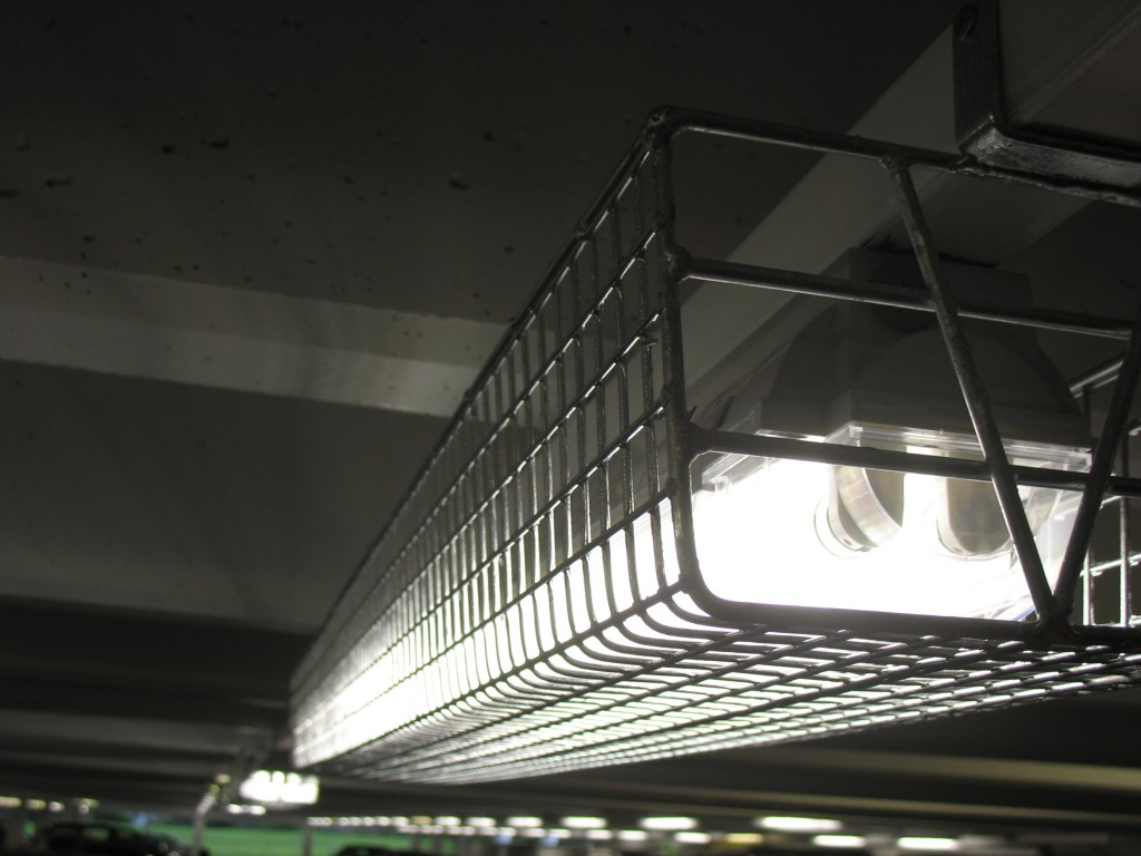 Light guards installed in car park