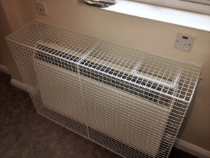 AIANO SH24 radiator guard with safety control flap at Thorners retirement home. Aiano are the only manufacturer of heater guards recommended by Dimplex