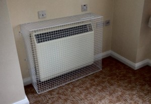 AIANO SH24 storage heater guards at Thorners retirement home prevents elderly residents touching the hot heater.