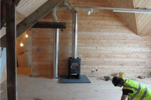 The inside of Porthmeor artists' studio showing the wood burning stove pipes that required wire mesh pipe and flue guards