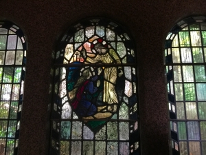 The stained glass, for which AIANO manufactured stainless steel window guards, depiction of 'Noli me tangere' in the Strathcona mausoleum at Highgate cemetery