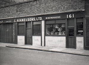 Front window of first Aiano workshop located in London where bespoke radiator guards were made.